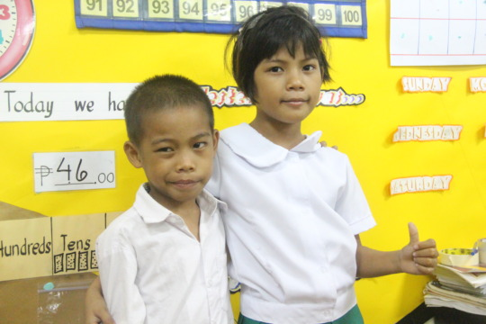 Izza and her brother, JR, are both in Grade 1.