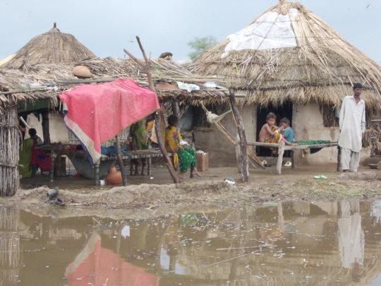 Flood water in villages