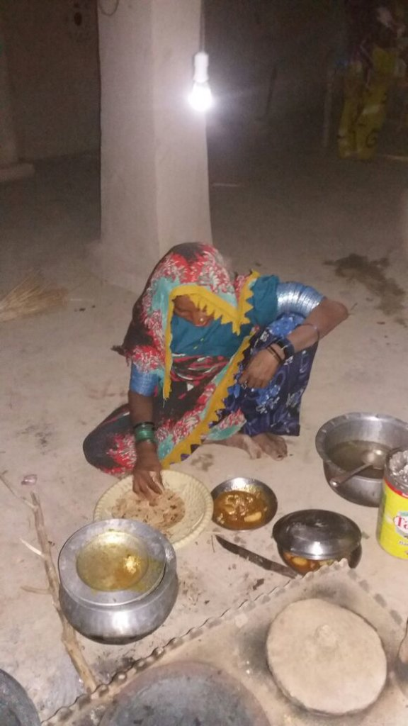 Poor Thari women making Dinner on solar light