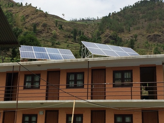 The new solar panels on top of staff residence
