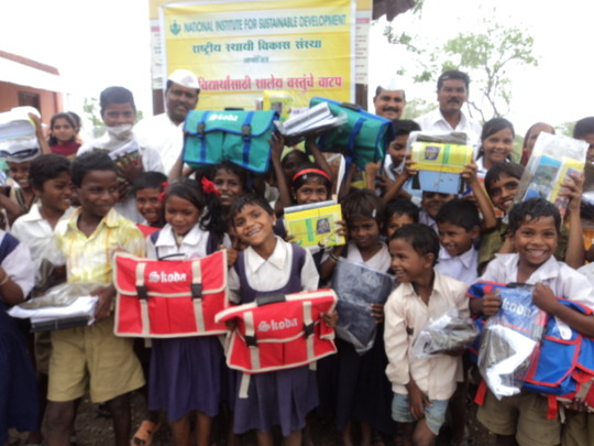 Children after distribution of materials