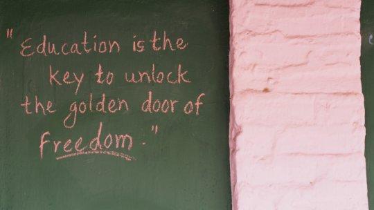 A motivational quote on Utalesha's school wall!