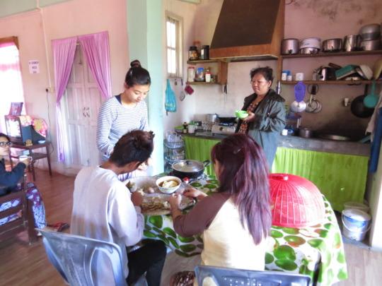 Preparing dinner at the Safe Home