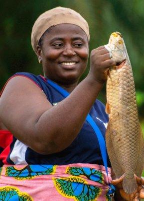 Showcasing success during harvesting of fish ponds