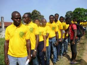 Students lined up for graduation match
