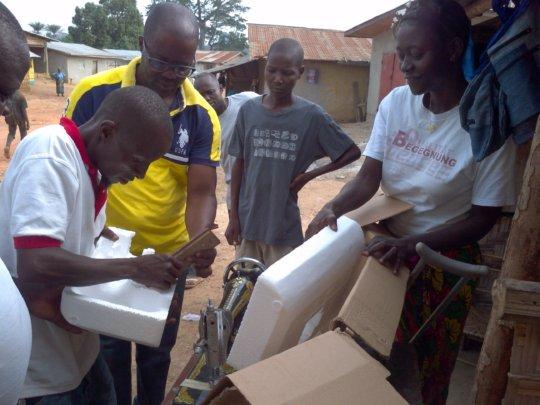 Kebbeh receiving supplies