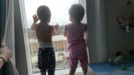 Jacob & Skylah-Mae looking out hospital window