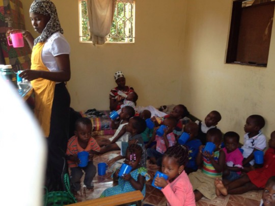 Snack time at the child care centre