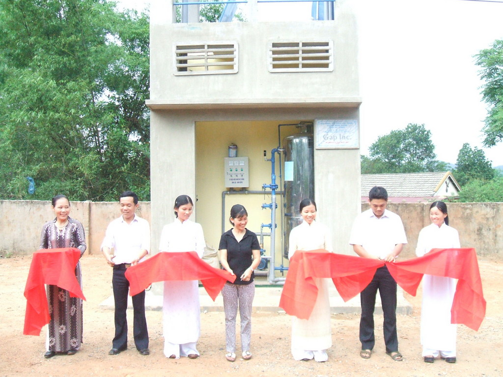 Ribbon-cutting ceremony of a newly-completed water system