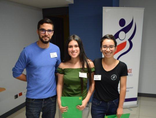 One of six academic achievement winners (center)