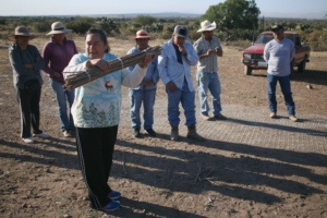 Community organizer demonstrates exercise