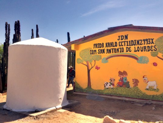 Finished rainwater cistern at local kindergarten