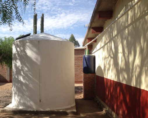 Finished rainwater harvesting system at a school