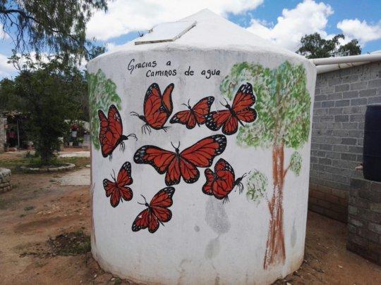 A decorated rain cistern in San Antonio de Lourdes