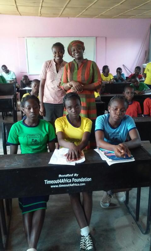 Project leader Millicent with teacher and Students