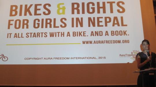 Presenting Bikes & Rights at GirlsNotBrides summit
