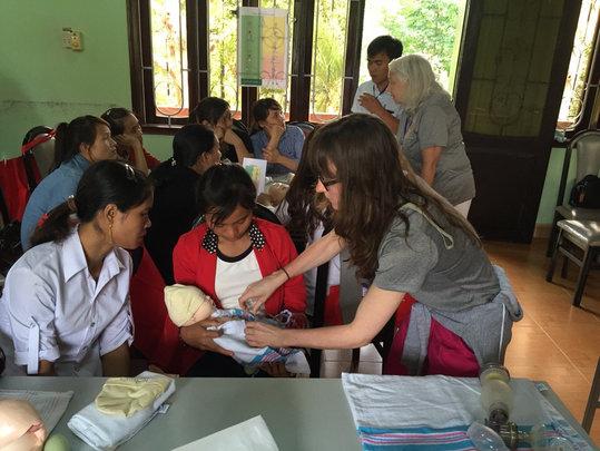 Nurse Nancy teaches local midwives in HBB