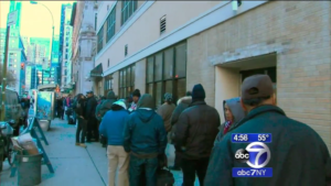 Line in front of NYC Rescue Mission