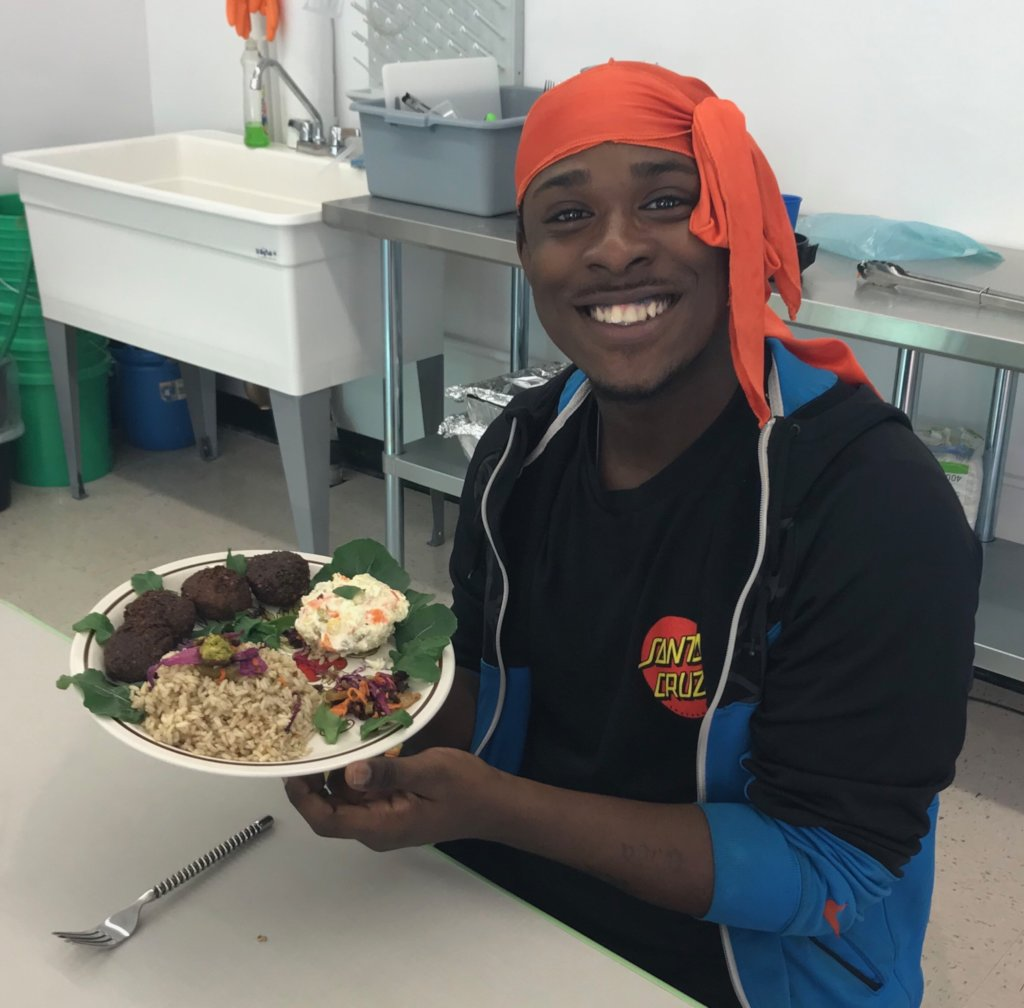 Student Enjoying Rescued Meal!