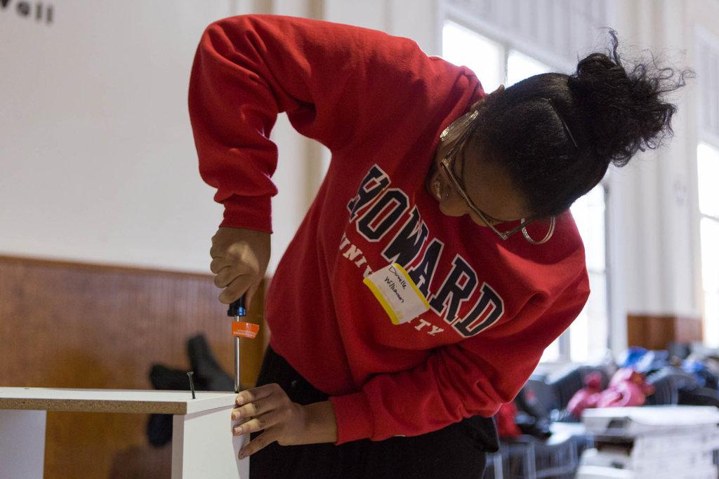 A Howard University student built bookshelves.