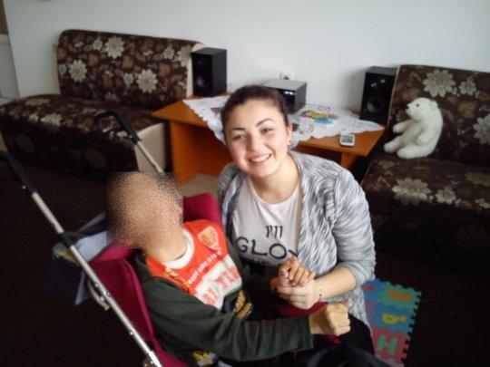 Reni Palova during her social work in Dobrich