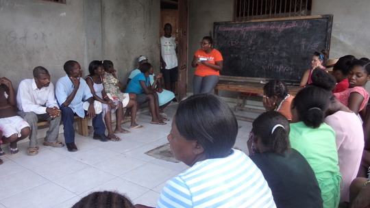 Our Garden Haiti meeting with parents and children