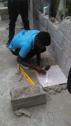 Learning ceramic tile work