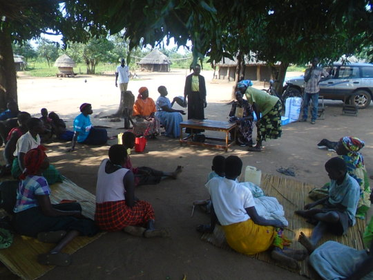 Families gathered for food and non food items
