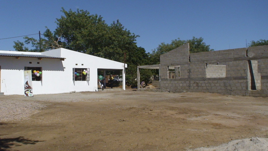 The completed house (left) and to be completed (right).