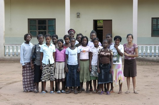 Scholarship Winners in front of Their New School