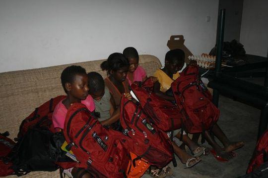 School supplies: red backpacks!
