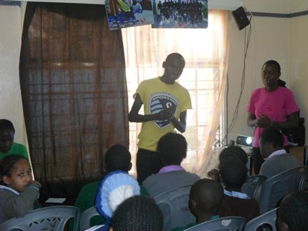Karanja talking to youth about HIV/AIDS