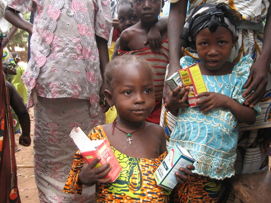 A young beneficiary of free antimalaria treatmen