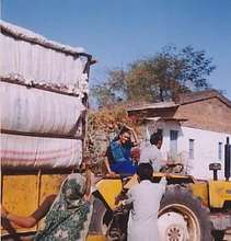 Woman driving goods to the market