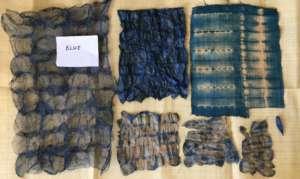 Shades of blues on silk and raffia