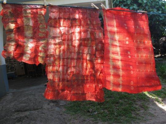 Shibori dyes on raffia textile