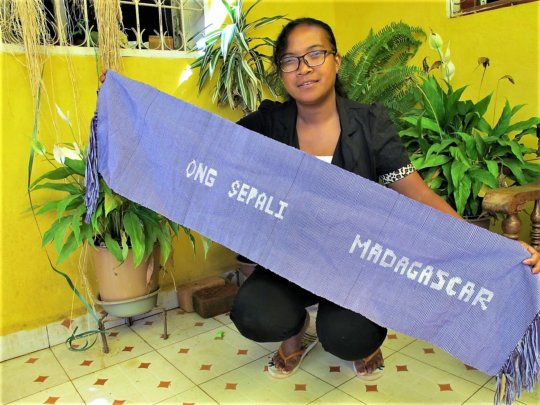 Lalaina with her first woven banner