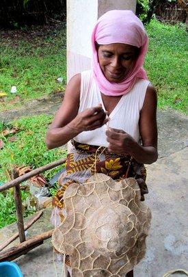 SEPALI Artisan making silk hats