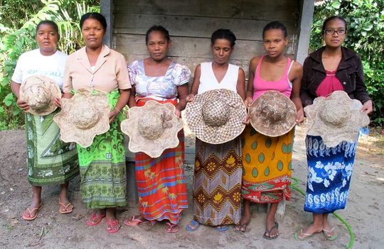 Women's group shows off handmade hats