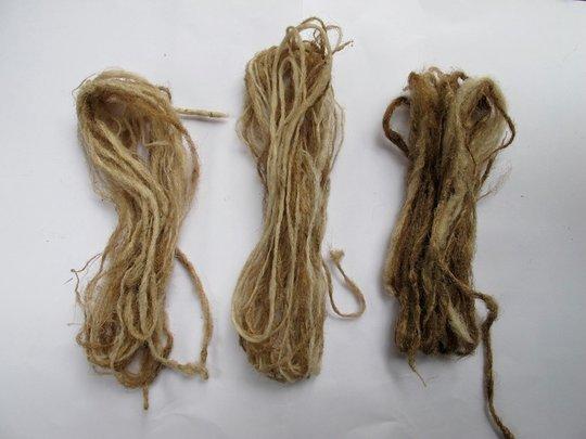 L to R: Hysoides, Ceranchia, and suraka yarn