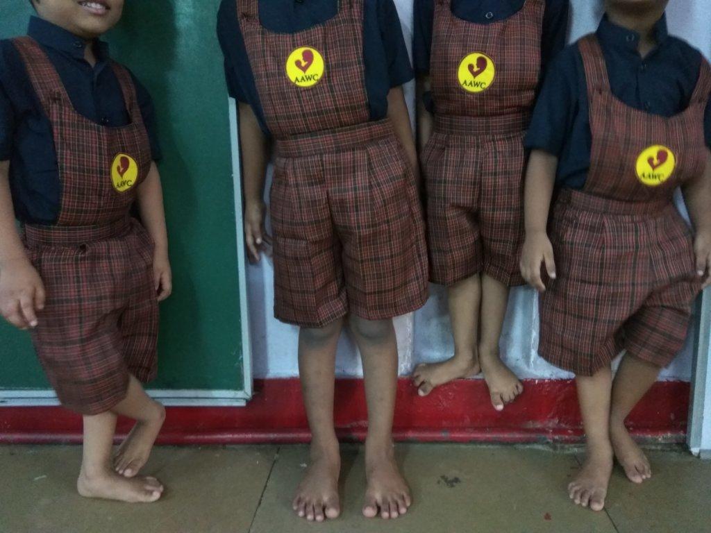 umang children in their new school uniforms