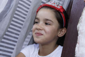 Albina showing her crown