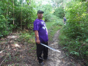 Antonio working to delineate the catchment area