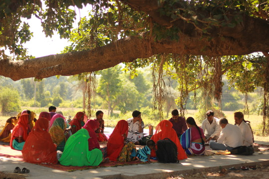 Meeting of villagers for pasture land development