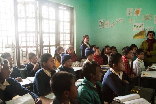 Visiting an English class at Hamro Ghar.