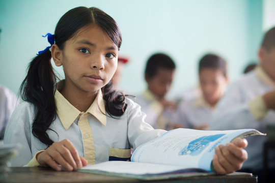 Sumitra, 11, studies in class at Hamro Ghar.
