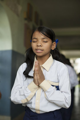 Meditation is a daily part of Sumitra's schedule.