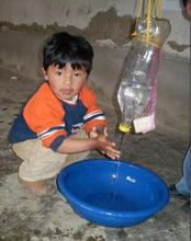 Mobile hand washing unit in action