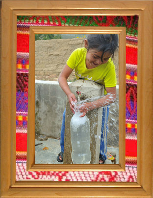 A girl filling a PET bottle to do SODIS