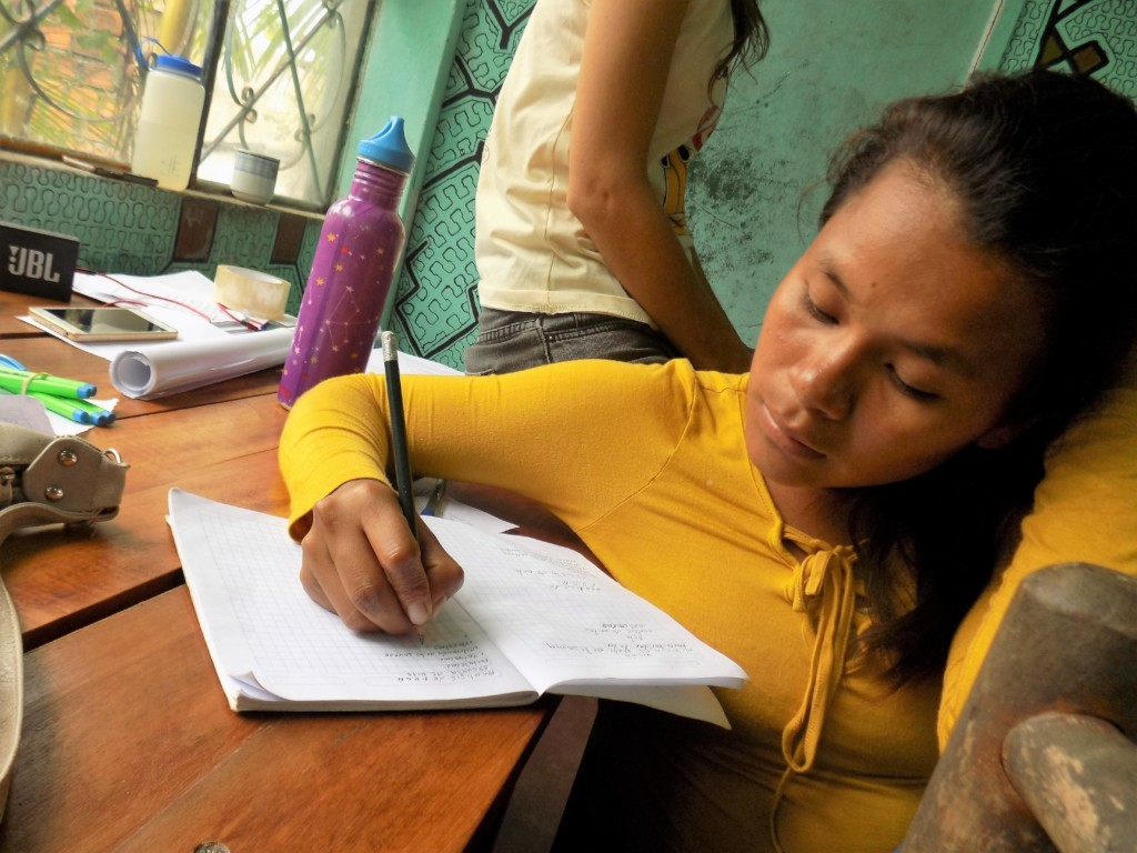 Rocio, 22, designing a project to sell her artwork